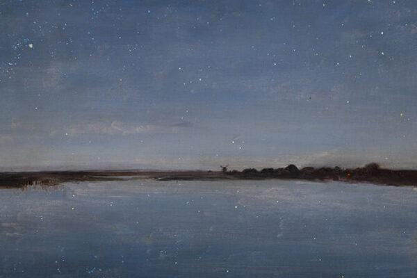 """Józef Chełmoński """"Noc gwiaździstą"""" - obraz przedstawia wiejski krajobraz nad jeziorem nocą"""