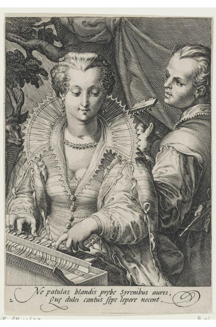 Obraz przedstawia rycinę Hendricka Goltziusa. Na głównym planie grająca na klawikordzie młoda kobieta w stroju z epoki (XVIw). Za nią młody mężczyzna.