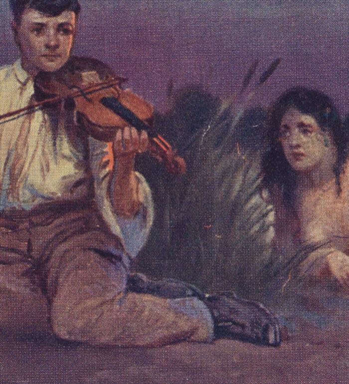 Obrazek przedstawia młodego chłopca w białej koszuli grającego na skrzypcach w wodnych zaroślach. Z wody wyłania sięsłuchająca go rusałka.