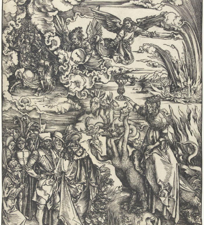 Obraz przedstawia rycinę Albrechta Durera - Babilońska nierządnica. Na rycinie widzimy młodą kobietę, jadącą na siedmiogłowym smoku, trzymającą w ręce kielich (rozpusty). W oddali płonie miasto. Na niebie aniołowie oraz zastępy świętych pośród ciężkich chmur. Naprzeciwko kobiety stoją spokojnie ludzie w strojach z epoki (XV/XVI wiek)