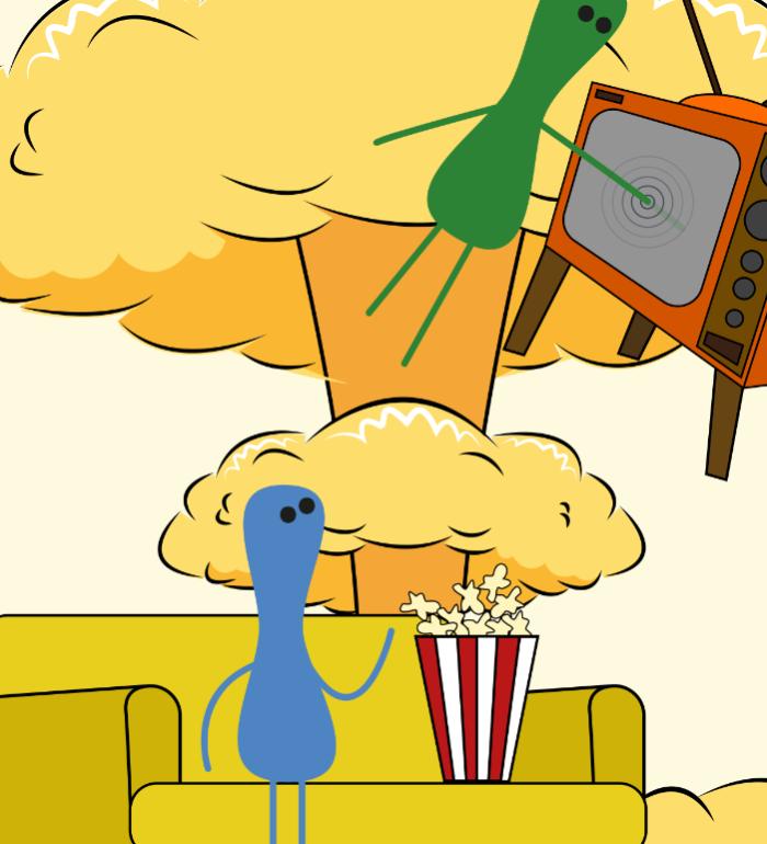 obrazek abstrakcyjny/kreskówkowy Postać siedzącą na kanapie i jedząca popcorn. Postać w powietrzu z ręką zanurzoną w telewizorze. W tle widok grzyba wybuchu atomowego.