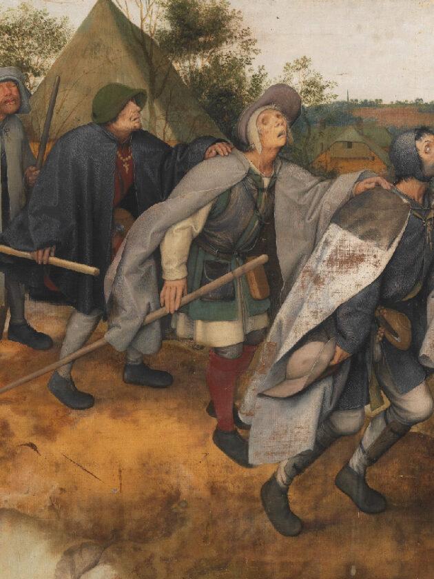 """Fragment obrazu Petera Breugla pt.""""Ślepcy"""" przedstawiający ślepców prowadzących się nawzajem."""