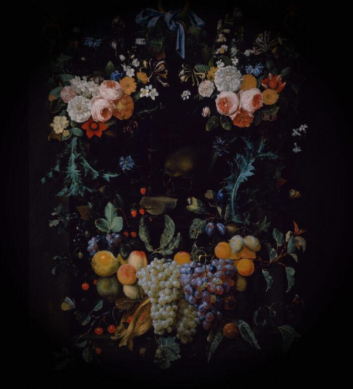Grafika przedstawiająca owoce i kwiaty ułożone w wieniec