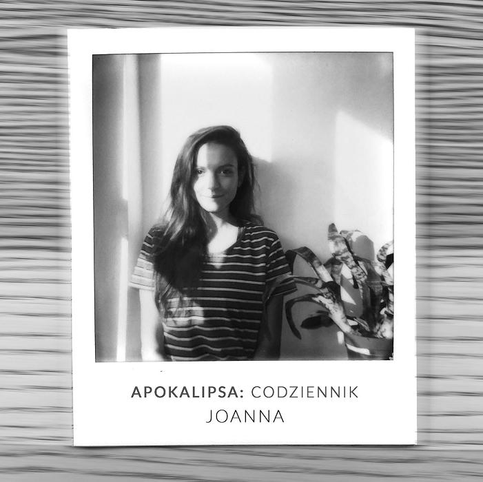 Fotografia - polaroidowy portret aktorki z podpisem Apokalipsa: Codziennik Joanna
