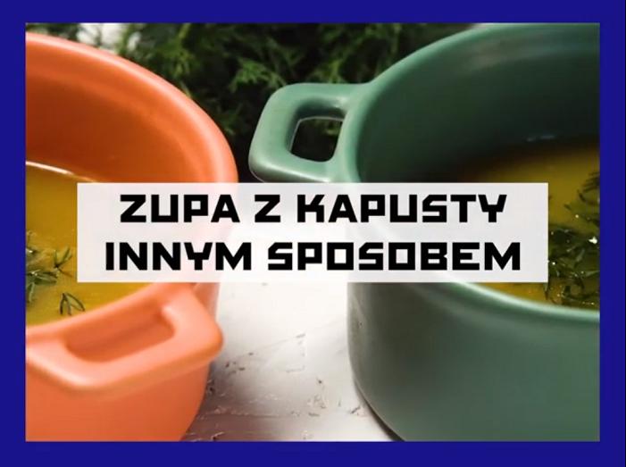 zdjęcie dwóch kolorowych garnków z napisem: zupa z kapusty innym sposobem